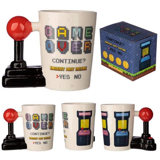 Ceramic Gaming Joystick Shaped Handle Mug with Arcade Decal - Simply Utopia