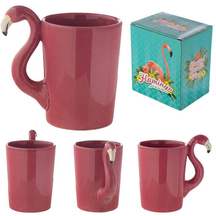 Funky Pink Flamingo Shaped Handle Ceramic Mug - Simply Utopia