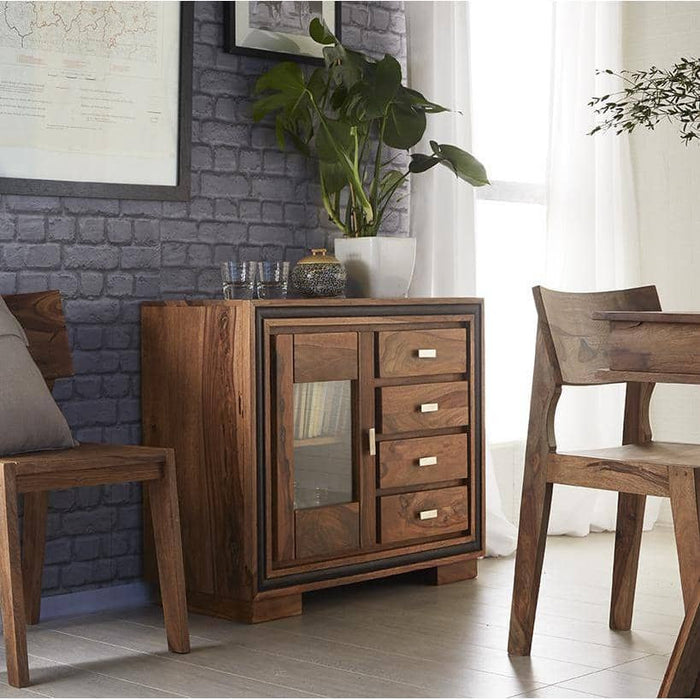 Jodhpur Sheesham Sideboard With Glass - Simply Utopia