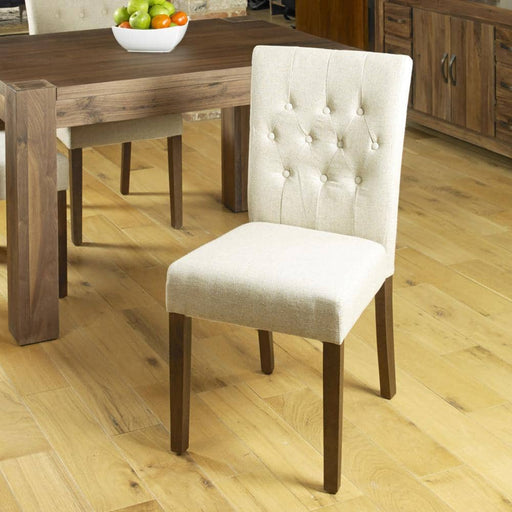 Mayan dark wood walnut furniture extending dining table six biscuit chairs set - Simply Utopia