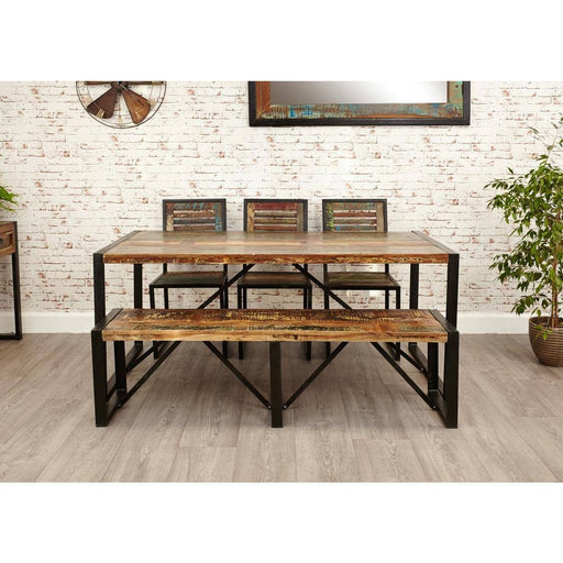 Urban Chic Large Table with 1 x Bench and 4 x Dining Chairs - Simply Utopia