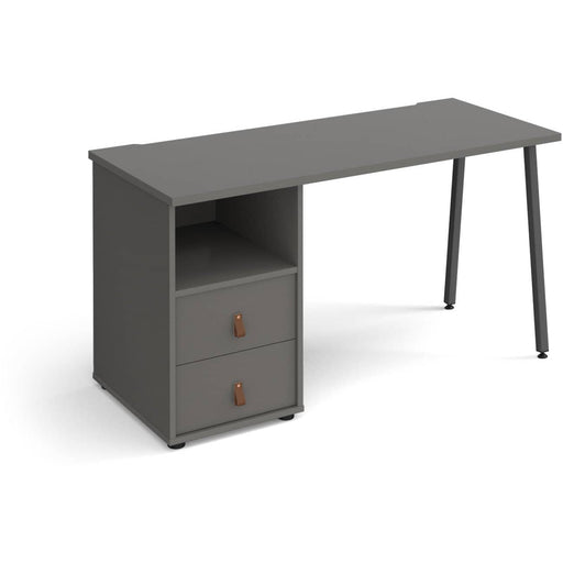 Sparta straight desk 1400mm x 600mm with A-frame leg and support pedestal with drawers - Simply Utopia