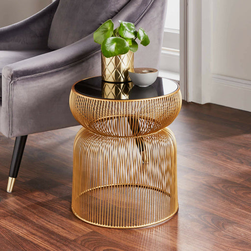 Curve Side Table With Sleek Black Tinted Glass Top - Simply Utopia