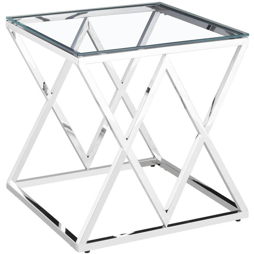 Pyramid Silver Side Table With a Tempered Glass Top - Simply Utopia
