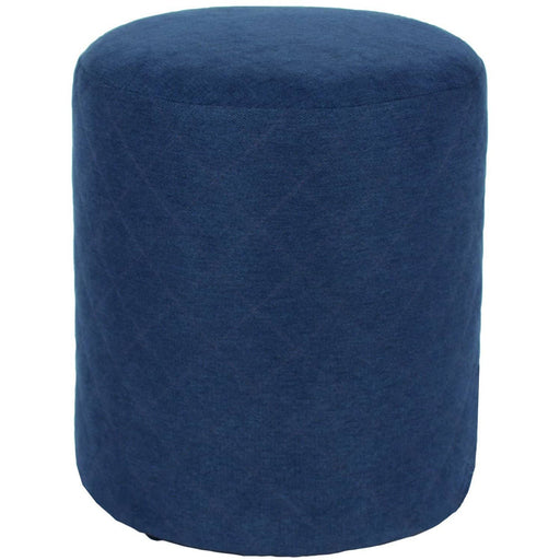 Comfort blue fabric upholstered round tub stool - Simply Utopia