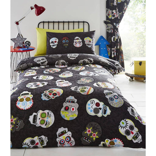 Sugar Skulls  Pencil Pleat Curtain - Simply Utopia