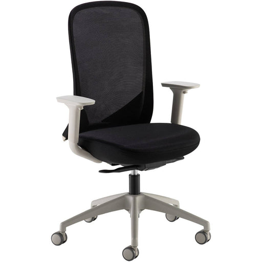 Sway black mesh back adjustable operator chair with black fabric seat, grey frame and base - Simply Utopia
