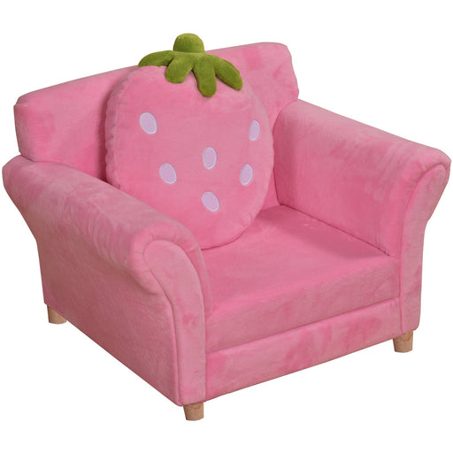 Little Ones Fleece Pink Strawberry Single Sofa With Strawberry Pillow - Simply Utopia