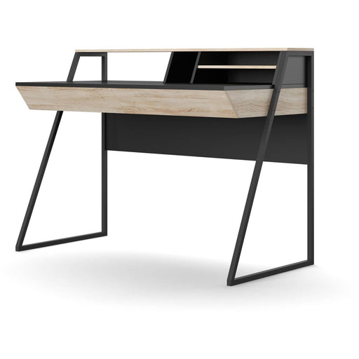 Salcombe Modern Home Office Desk With 2 Drawers In Oak and Black Finish - Simply Utopia