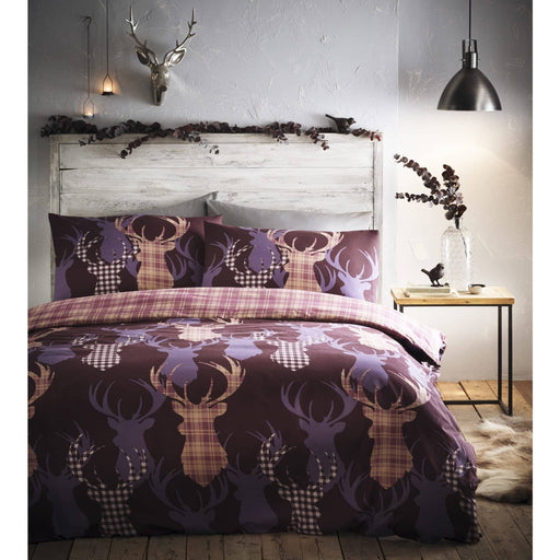 Tartan Stag Reversible Duvet Set - Simply Utopia