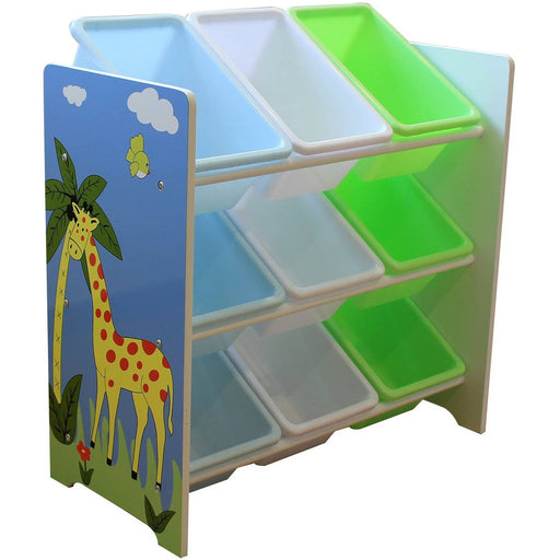 Safari Storage Shelf With 9 Plastic Bins - Simply Utopia