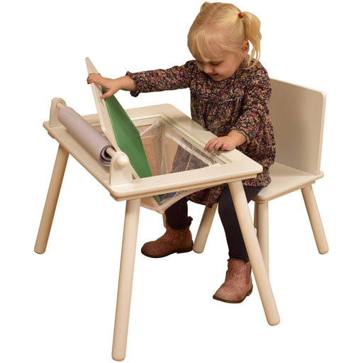 White Writing Table & Chair With Lego Board - Simply Utopia