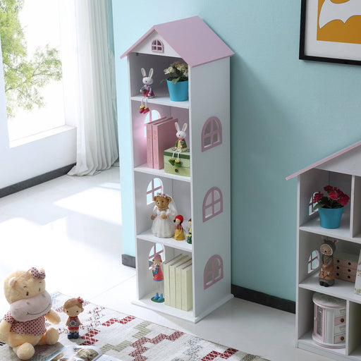 Tall White And Pink Dollhouse Bookcase - Simply Utopia