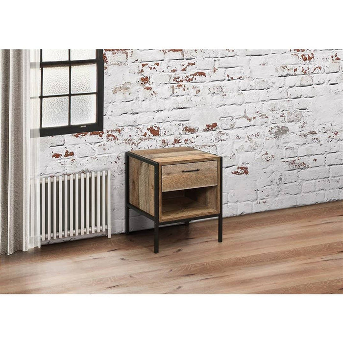 Urban Industrial Chic 1 Drawer Bedside Rustic - Simply Utopia
