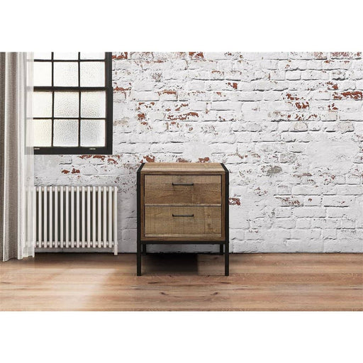 Urban Industrial Effect 2 Drawer Bedside Rustic - Simply Utopia
