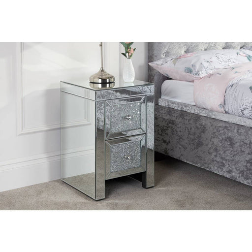 Vienna Mirrored And Crystal Finish 2 Drawer Bedside - Simply Utopia