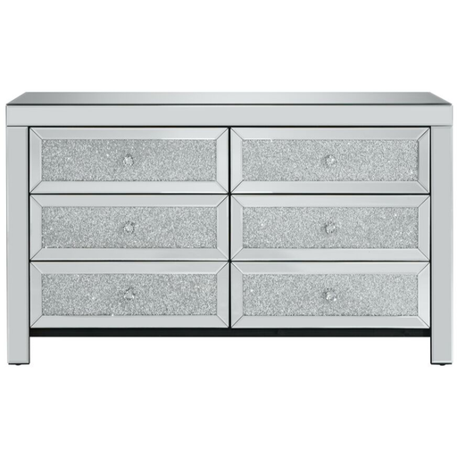 Vienna Mirrored and Crystal Finish 6 Drawer Chest - Simply Utopia