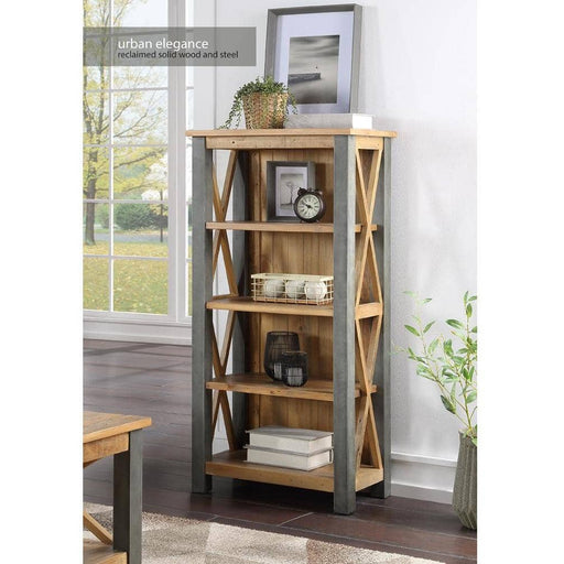 Urban Elegance Reclaimed Wooden Small Bookcase With 4 Shelves - Simply Utopia