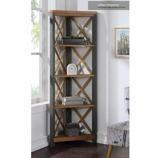 Urban Elegance Reclaimed Wood Large Corner Bookcase With 4 Shelves - Simply Utopia
