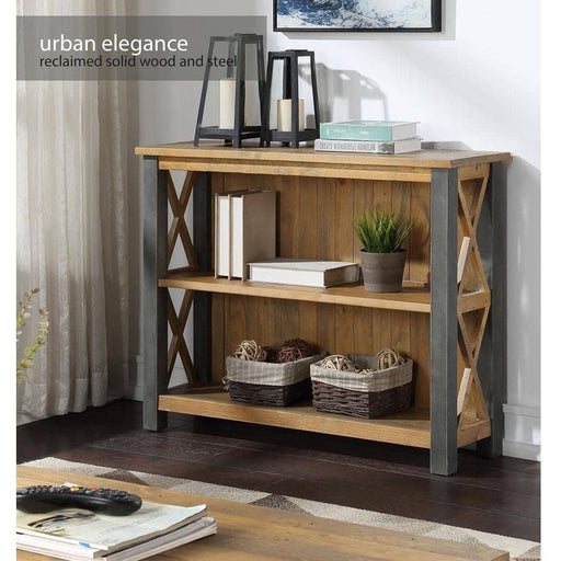 Urban Elegance Rustic Reclaimed Wooden Low Bookcase - Simply Utopia