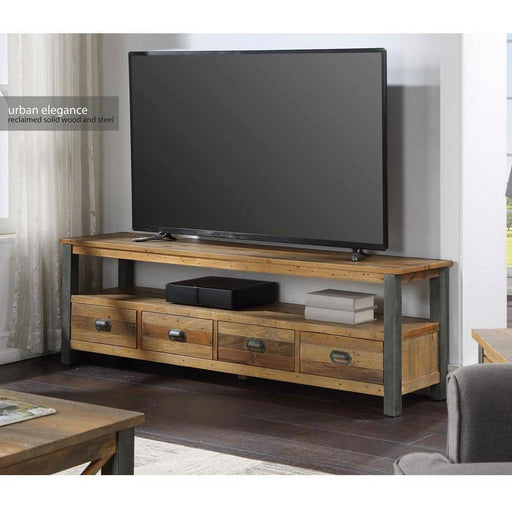 Urban Elegance - Reclaimed Wooden Extra Large Widescreen TV unit 4 Drawer - Simply Utopia