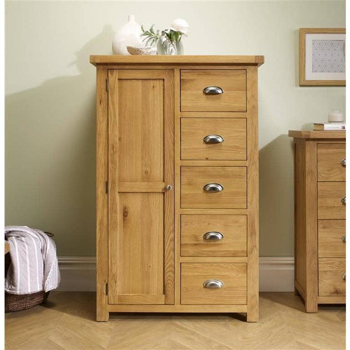 Woburn 1 Door 5 Drawer Wardrobe Oak/Oak Veneers - Simply Utopia