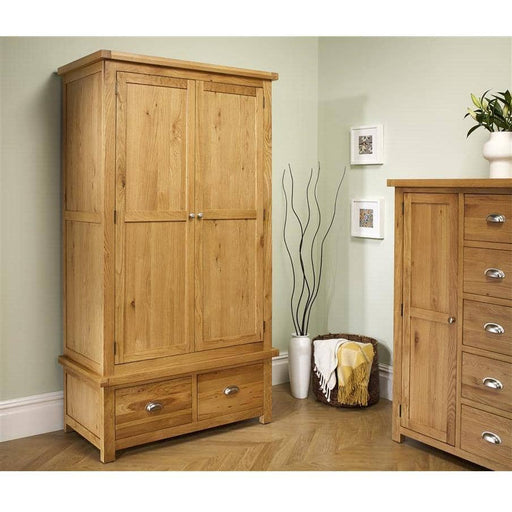 Woburn 2 Door 2 Drawer Wardrobe Oak/Oak Veneers - Simply Utopia