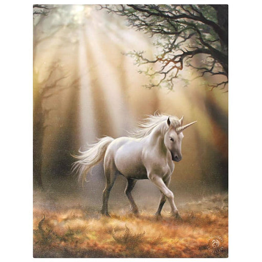 19x25cm Glimpse Of A Unicorn Canvas Plaque By Anne Stokes - Simply Utopia