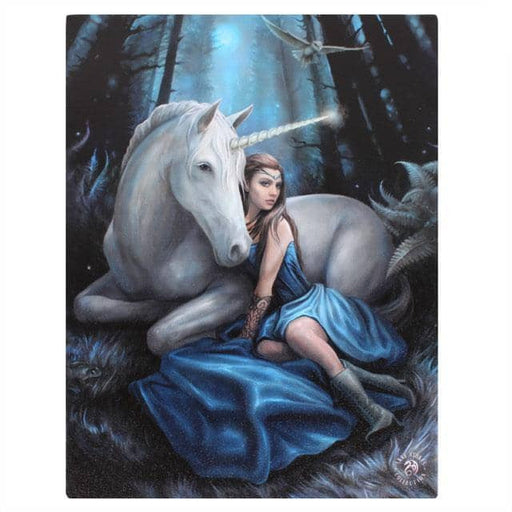 Blue Moon Canvas Plaque by Anne Stokes 19x25cm - Simply Utopia