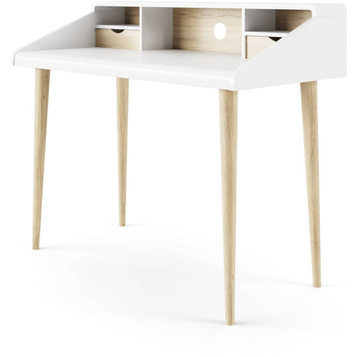 Yeovil Scandinavian Home Office Desk With 2 Drawers In Oak and White Finish - Simply Utopia
