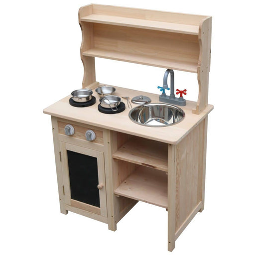Wooden Sensory Play Mud Kitchen with 6 Stainless-steel Pots - Simply Utopia