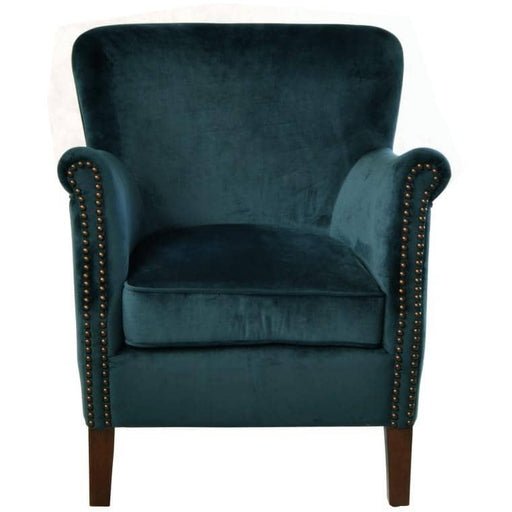 Blue Soft Velvet Armchair With A solid Wooden Frame And Legs - Simply Utopia