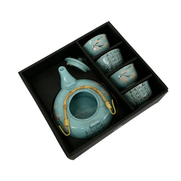 Maple Leaf Duck-egg blue Glazed Teaset - Simply Utopia
