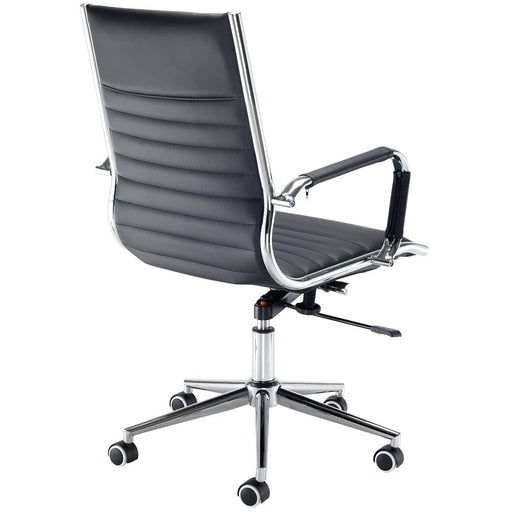 Bari Medium Back Executive Chair - Black Faux Leather With Chrome 5 Star Base - Simply Utopia