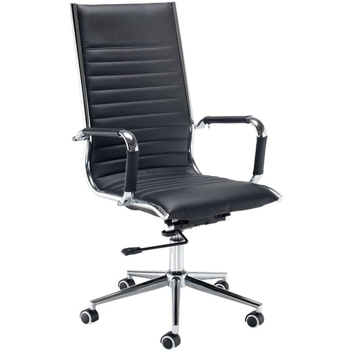 Bari High Back Executive Chair Black Faux Leather With Chrome 5 Star Base - Simply Utopia