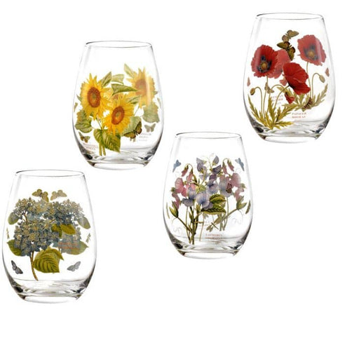 Portmeirion Botanic Garden Stemless Wine Glasses Set of 4 Assorted Motifs - Simply Utopia