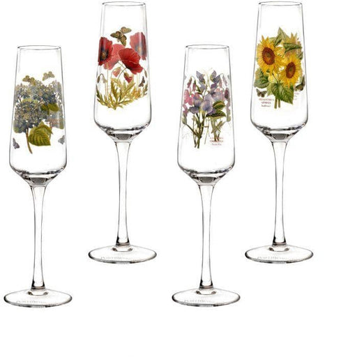 Portmeirion Botanic Garden Champagne Flutes Glasses Set of 4 Assorted Motifs - Simply Utopia