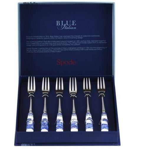 Spode Blue Italian Pastry Forks - Simply Utopia