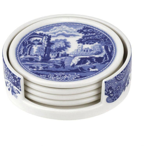 Spode Blue Italian Ceramic Coasters with Holder - Simply Utopia