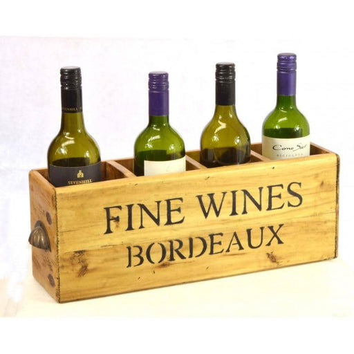 Reclaimed Pine Bordeaux 4 Bottle Fine Wines Decorative Box - Simply Utopia