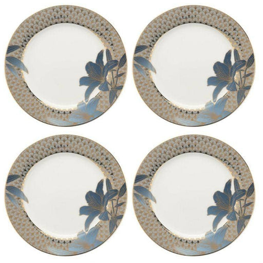 Royal Worcester Wrendale Designs Blue Lily Salad Plates Set of 4 - Simply Utopia