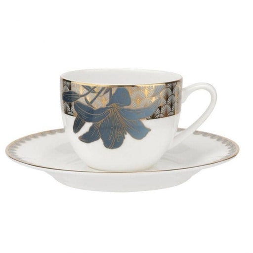 Royal Worcester Wrendale Designs Blue Lily Teacup and Saucers Set of 4 - Simply Utopia
