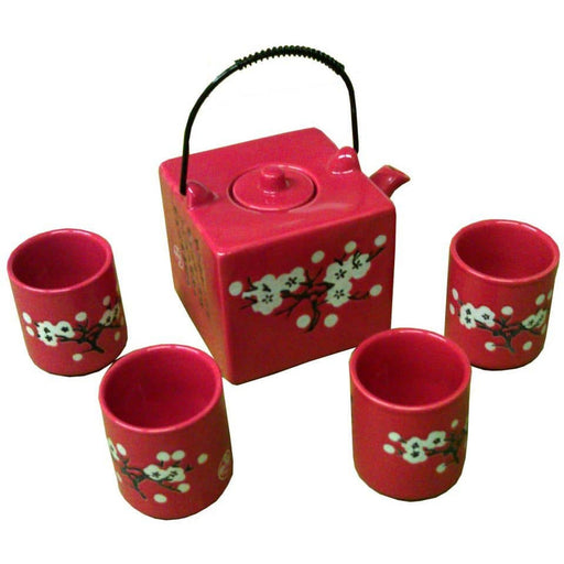 Red Square Cherry With Blossom Porcelain Teaset - Simply Utopia