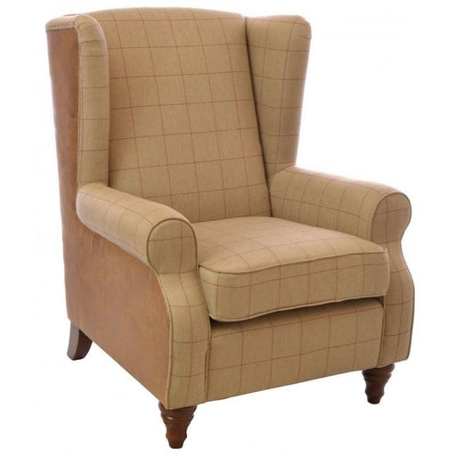 Cromarty Brown Faux Leather & Tweed Wing Back Chair - Simply Utopia