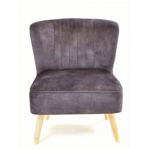 Chinese Oak Cromarty Velvet Charcoal Chair - Simply Utopia