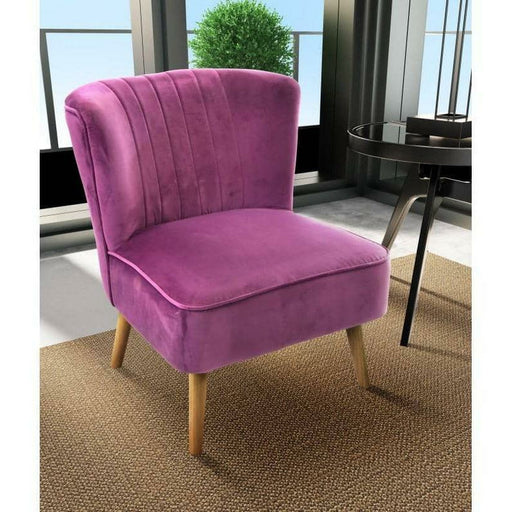 Cromarty Soft Velvet Cocktail Chair With A Large Ribbed Back - Simply Utopia