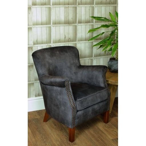 Cromarty Rubberwood Soft Charcoal Velvet Armchair - Simply Utopia