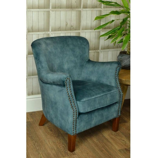Cromarty Rubberwood Soft Deep Green Velvet Armchair - Simply Utopia