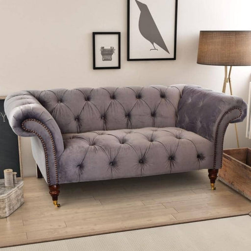 Ellie Grey Soft Velvet Classic Tufted Chesterfield With Wing Arms - Simply Utopia