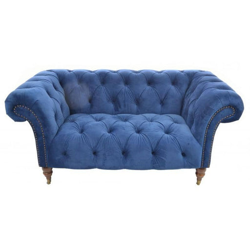 Ellie Navy Soft Velvet Classic Tufted Chesterfield Rubberwood Sofa With Wing Arms - Simply Utopia